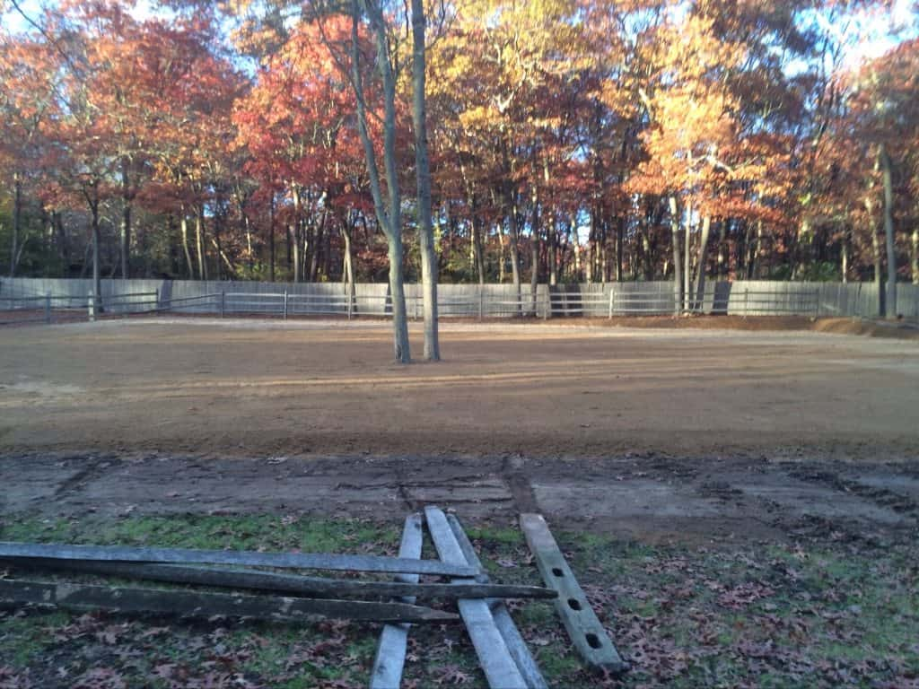 Side view of finished equestrian arena